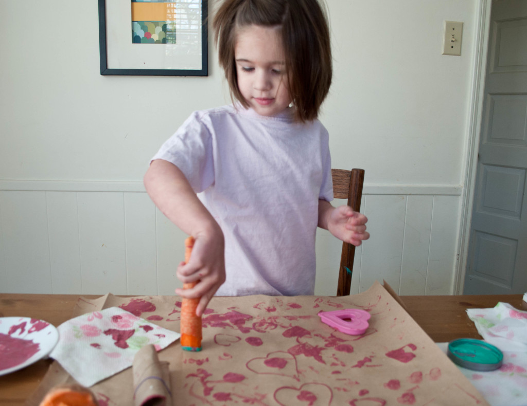 Painting with carrots - crafts for kids