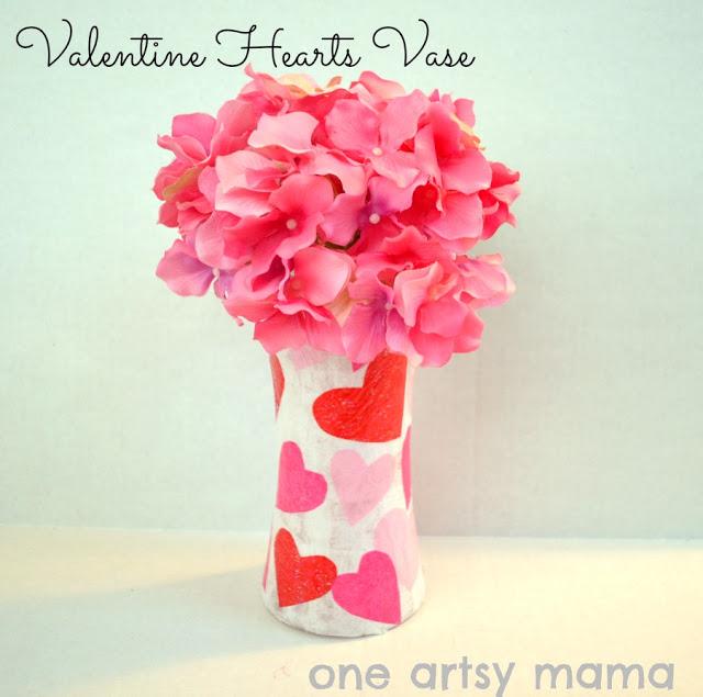 Valentine's Vase made using Mod Podge.
