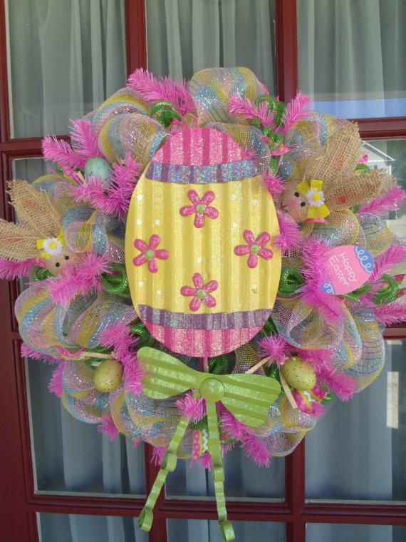 Easter Egg Deco Mesh Wreath