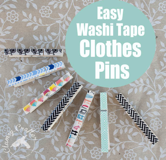 Washi tape craft covered clothespins clumsy crafter for Crafts with washi tape