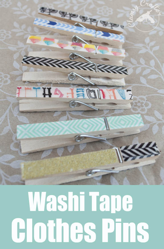 Washi Tape Clothes Pins - easy and with a great finish made by using Mod Podge Diamond Glaze