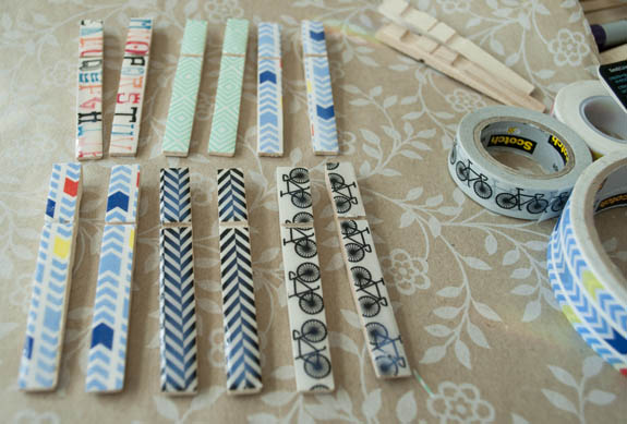 Washi Tape Crafts - washi covered clothes pins
