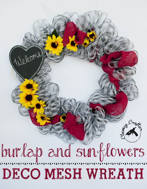 deco mesh wreath with burlap and sunflowers