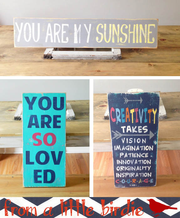 From a Little Birdie Etsy shop makes adorable wooden signs to brighten your home. I'll take them all!