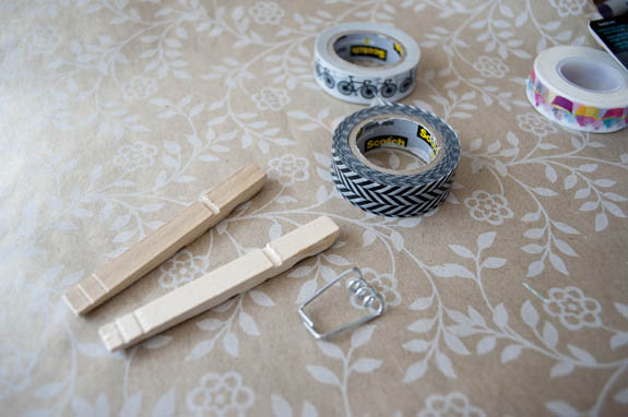 how to make clothes pins covered in washi tape. Cute for chip clips