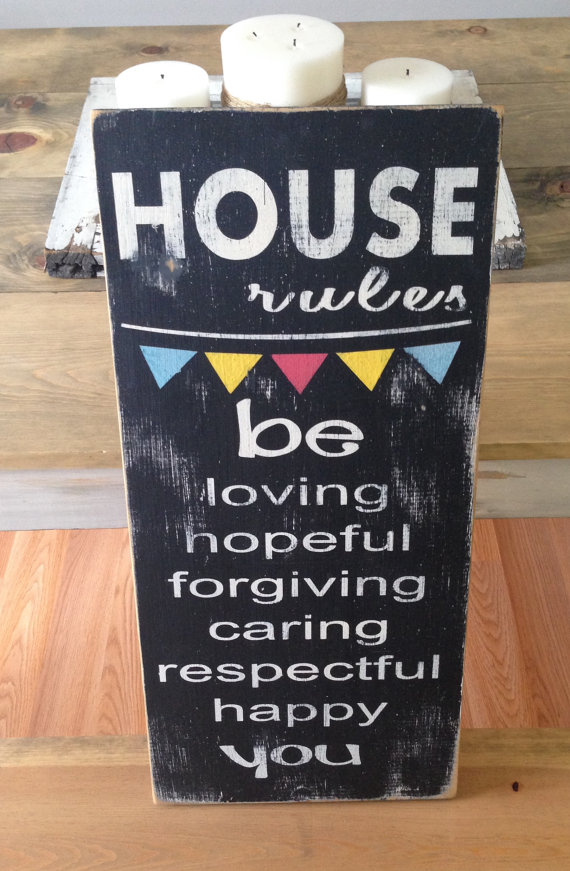 House Rules sign from the Etsy Store - From a Little Birdie. This sign is being given away on ClumsyCrafter.com from March 19th-22nd!