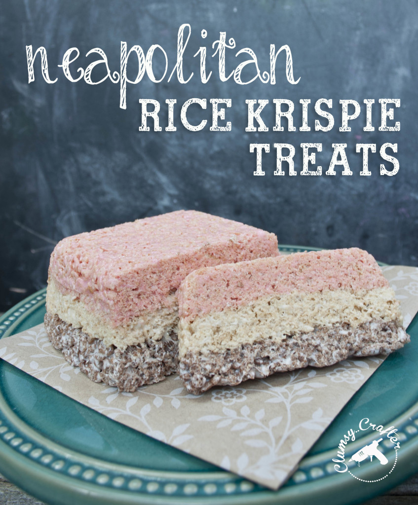 Neapolitan Rice Krispie Treats.  Chocolate, vanilla and strawberry treats that taste like ice cream!