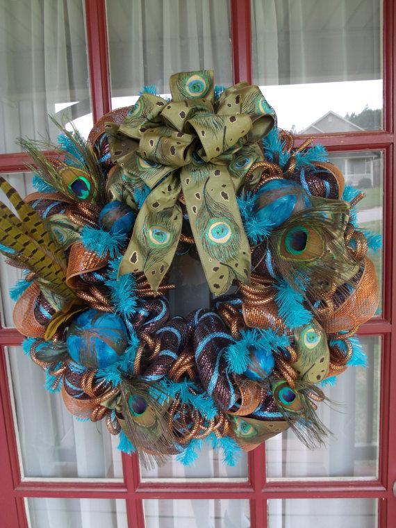 Peacock Decomesh Wreath