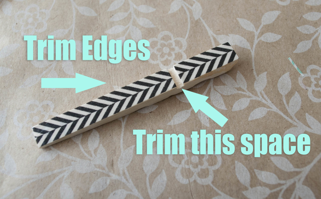 trimming the edges for washi tape covered clothes pins
