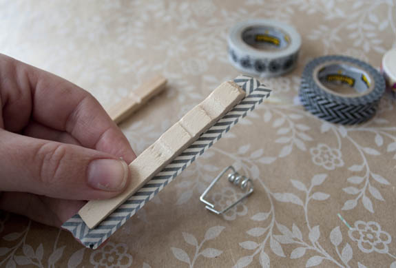 washi tape on clothes pins