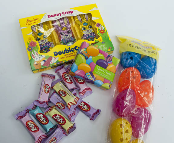 Easter basket candy and eggs