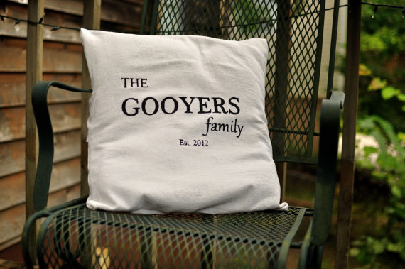 Personalized family name pillow cover