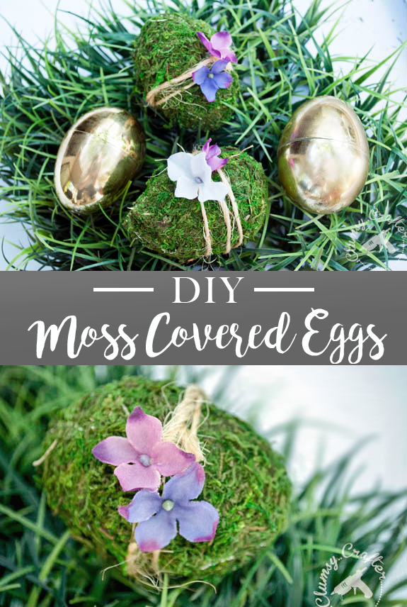 Farmhouse style moss covered easter eggs - DIY easter project