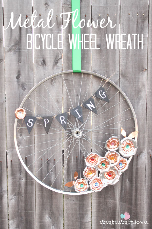 Metal Flower Bicycle Wheel Wreath from Create Craft Love