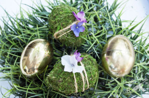 floral easter eggs that you can make with moss and fake flowers