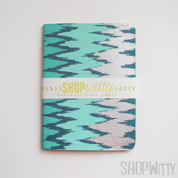 Blue Ikat hand bound journal