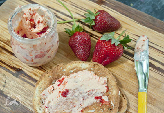 Strawberry Butter - It's so easy but looks like it came from a swanky restaurant plus it's great for using all those strawberries that are on sale right now.