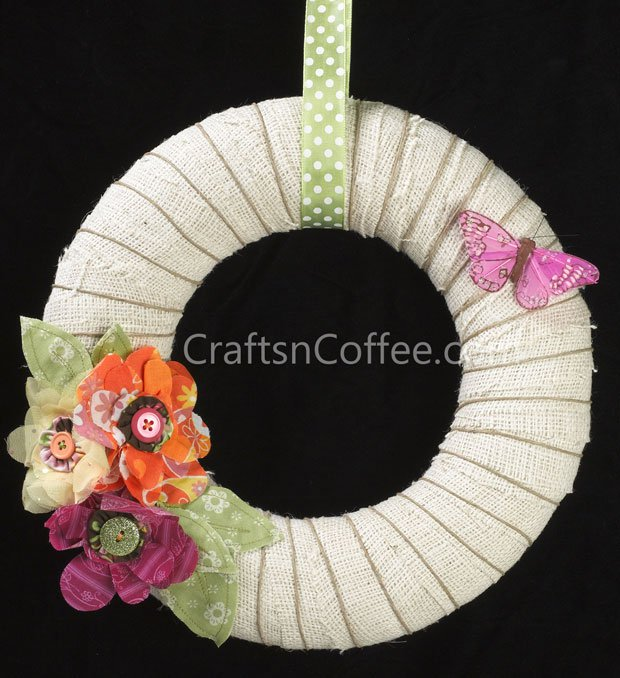 Summer Burlap Wreath from Crafts N Coffee