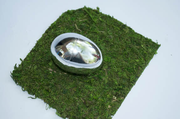 wrapping the egg in moss