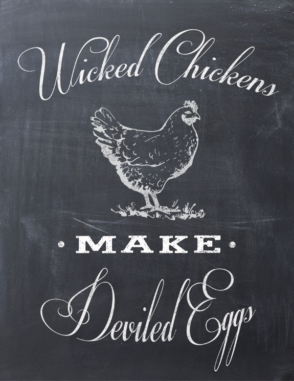 Wicked Chickens Make Deviled Eggs - Free Printable from Clumsy Crafter