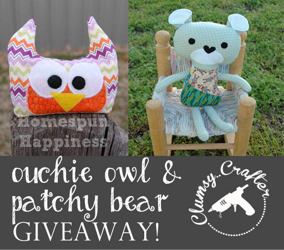 You can win an Ouchie Owl & Patchy Bear at  ClumsyCrafter.com!