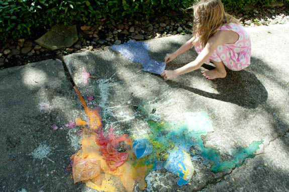 exploding sidewalk chalk bags - what to do when kids are bored