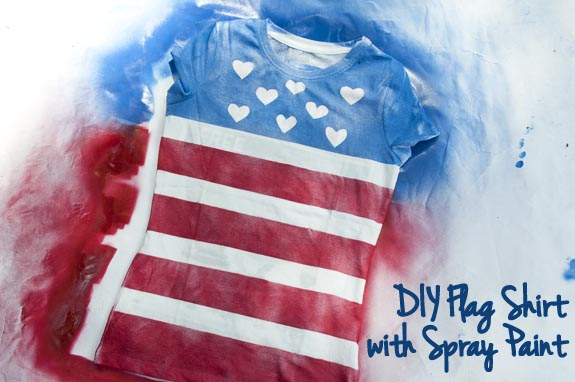DIY Flag shirt with spray paint
