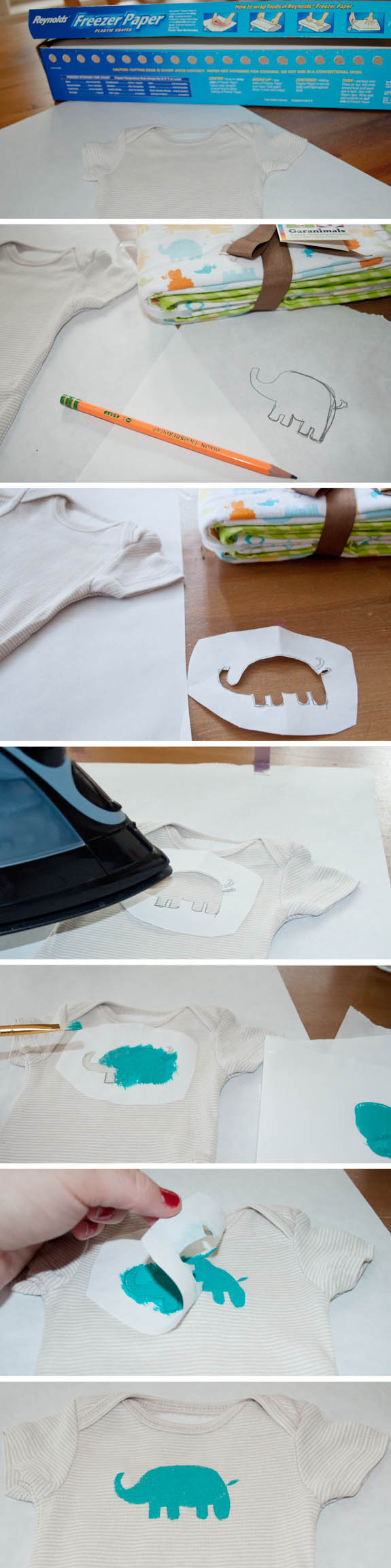Easy Freezer Paper Stenciling. A great way to personalize baby gifts or make custom tshirts!