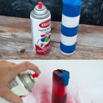 Easy craft to transform a plain candle with glass votive using spray paint and painters tape 150x150 Crafts