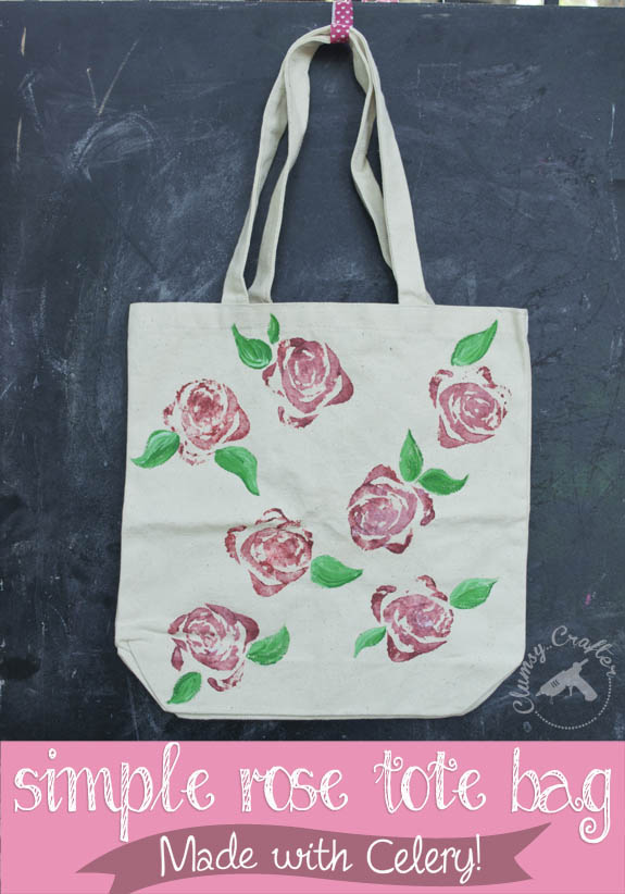Simple Rose Tote bag made using celery!