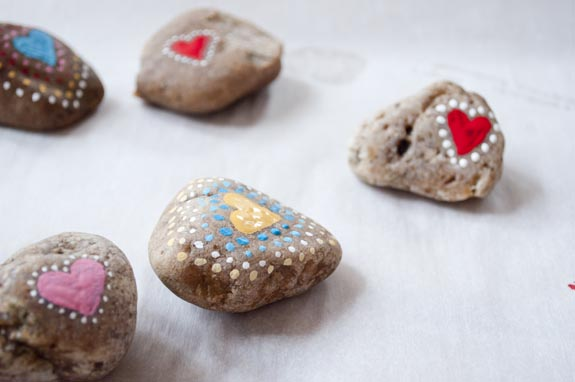 love rocks - paint hearts on one side and a inspirational message on the other and leave in places for people to find