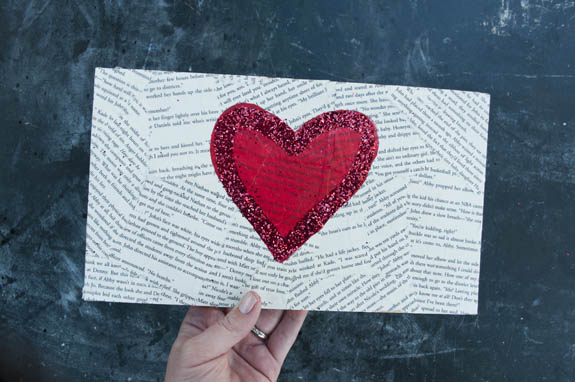 easy valentines day craft made using old book pages and mod podge