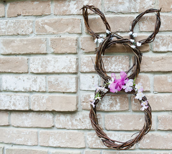 DIY Easter Bunny Wreath - Dollar store easter crafts