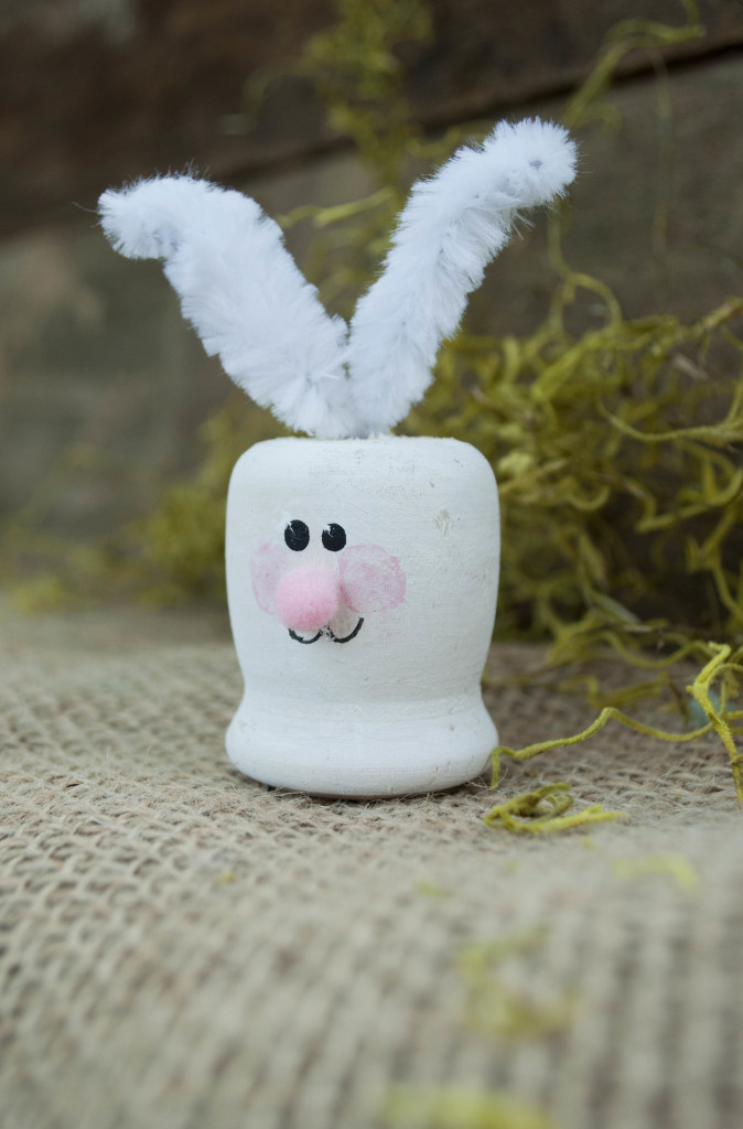Easy Easter Bunny Craft using a wooden candle cup from the craft store