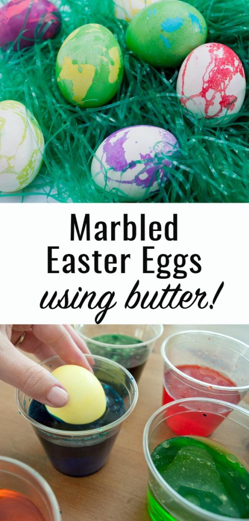 How to make marbled easter eggs with butter! So easy and cute!