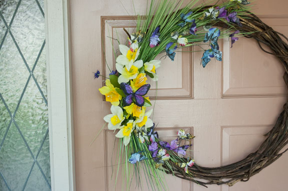 Spring Butterfly Wreath using Dollar Store supplies