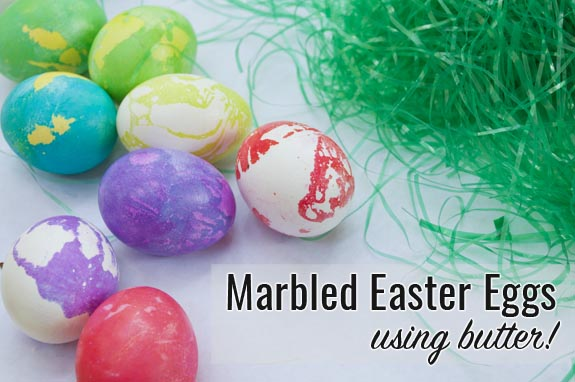 marbled easter eggs using butter