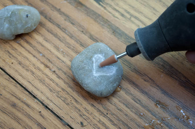 carved river rock using a dremel