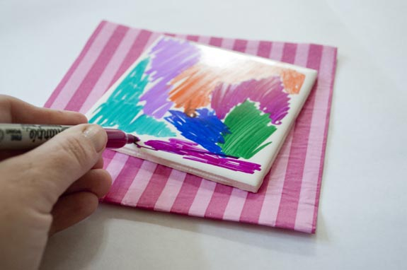 how to make coasters with sharpie and rubbing alcohol