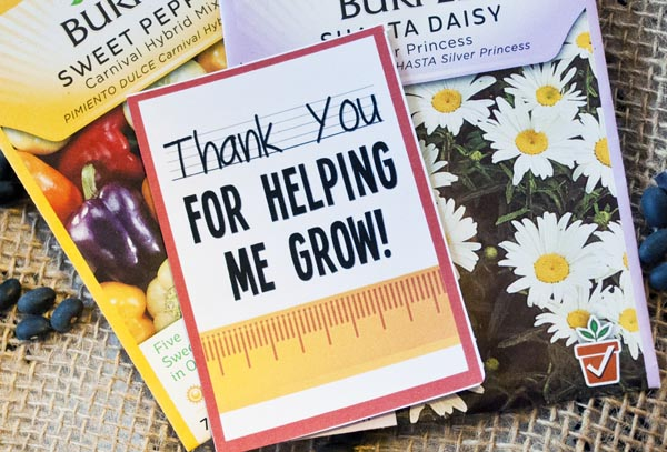 Thank you for helping me grow free printable - great for teachers gifts