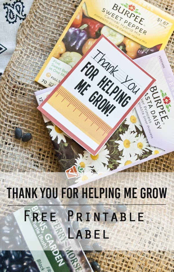 Thank You For Helping Me Grow Free Printable Label From Clumsy