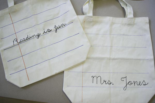 cute personalized totes - great teacher gifts!
