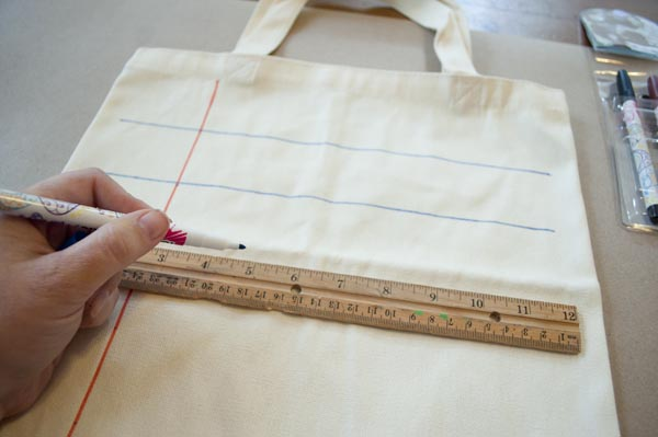 how to make a notebook paper lined tote bag