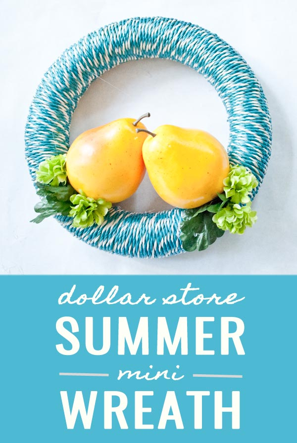 Dollar Store Summer Mini Wreath - less than $7 to make!