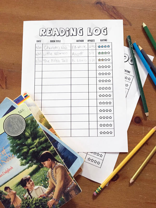 free printable reading log to keep track of your child's reading