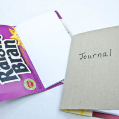 using cereal boxes to make notebooks