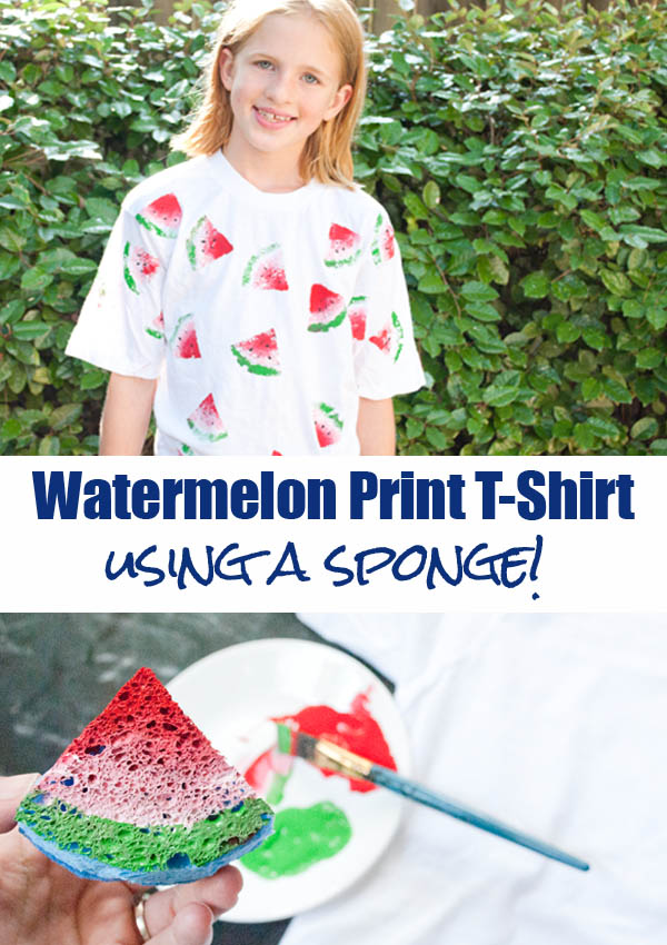 Watermelon T-shirt Made Using a Sponge from Clumsy Crafter