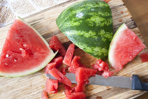 watermelon cut up for watermelon lemonade