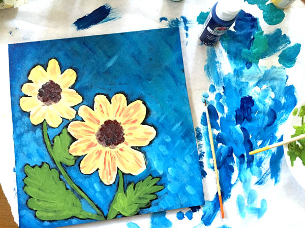 whimsical sunflower painting