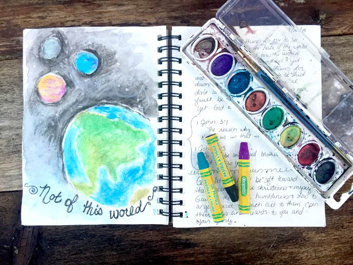 Bible journaling - not of this world illustration